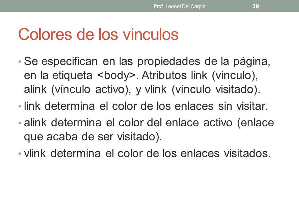Colores de los vinculos Se especifican en las propiedades de la página, en la etiqueta. Atributos link (vínculo), alink (vínculo activo), y vlink (vín