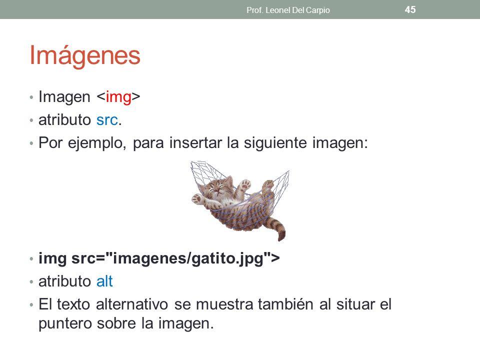 Imágenes Imagen atributo src. Por ejemplo, para insertar la siguiente imagen: img src=