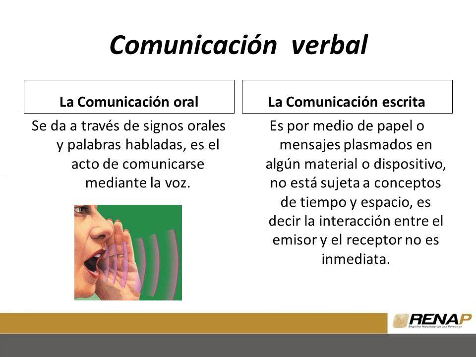 Comunicación verbal La Comunicación oral Se da a través de signos orales y palabras habladas, es el acto de comunicarse mediante la voz.
