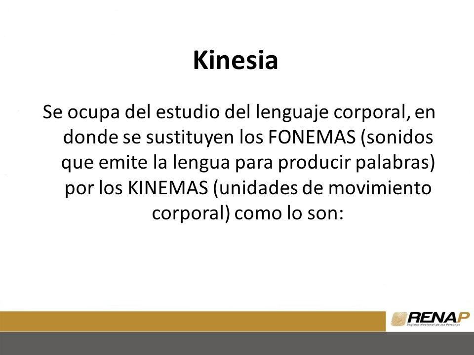 Kinesia Se ocupa del estudio del lenguaje corporal, en donde se sustituyen los FONEMAS (sonidos que emite la lengua para producir palabras) por los KINEMAS (unidades de movimiento corporal) como lo son: