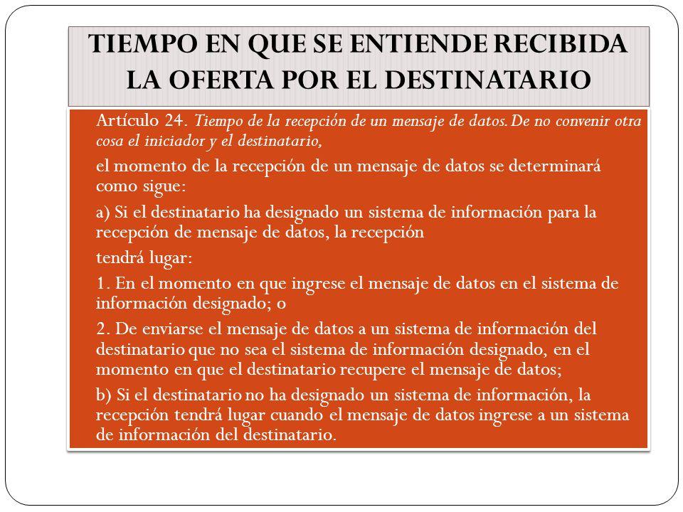 TIEMPO EN QUE SE ENTIENDE RECIBIDA LA OFERTA POR EL DESTINATARIO Artículo 24.
