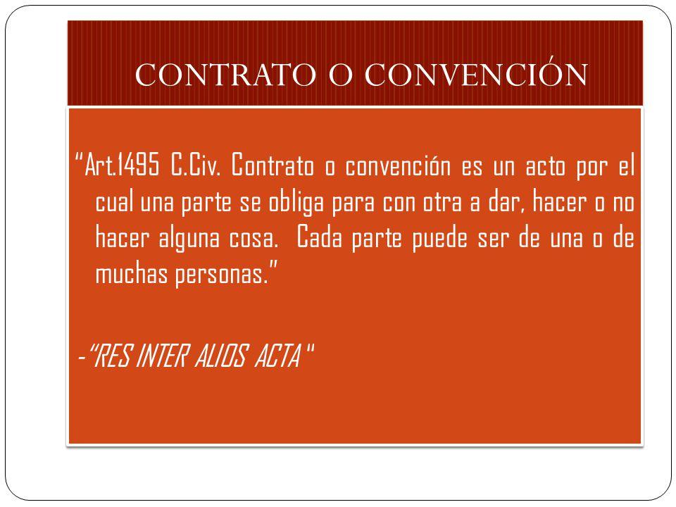 CONTRATO O CONVENCIÓN Art.1495 C.Civ. Contrato o convención es un acto por el cual una parte se obliga para con otra a dar, hacer o no hacer alguna co
