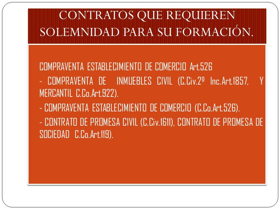 CONTRATOS QUE REQUIEREN SOLEMNIDAD PARA SU FORMACIÓN. - COMPRAVENTA ESTABLECIMIENTO DE COMERCIO Art.526 - - COMPRAVENTA DE INMUEBLES CIVIL (C.Civ.2º I