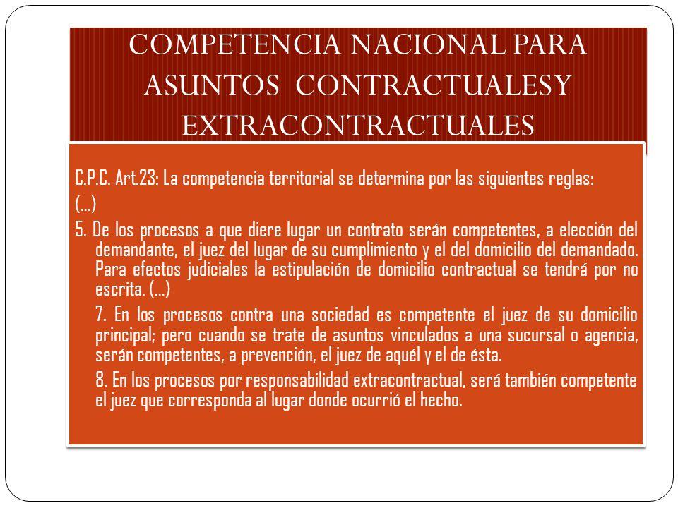 COMPETENCIA NACIONAL PARA ASUNTOS CONTRACTUALES Y EXTRACONTRACTUALES C.P.C. Art.23: La competencia territorial se determina por las siguientes reglas: