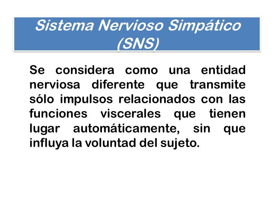 Sistema Nervioso Simpático (SNS) Se considera como una entidad nerviosa diferente que transmite sólo impulsos relacionados con las funciones viscerale