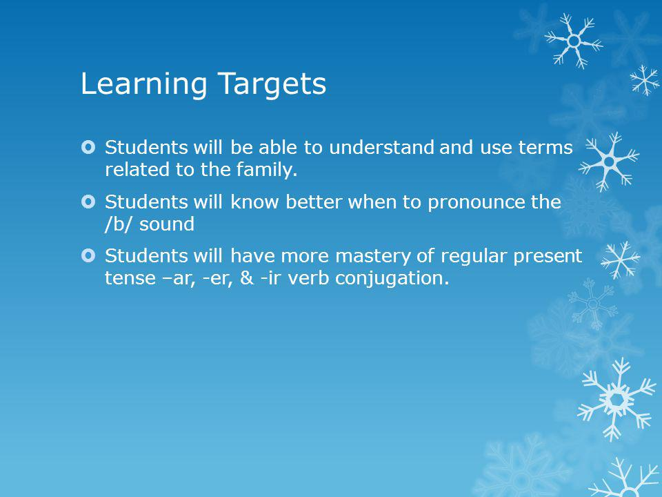 Learning Targets Students will be able to use the present tense forms of tener + que + infinitive to talk about what they have to do.