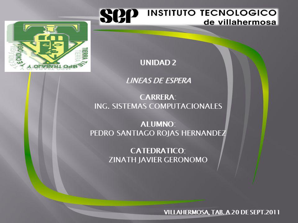 UNIDAD 2 LINEAS DE ESPERA CARRERA: ING.