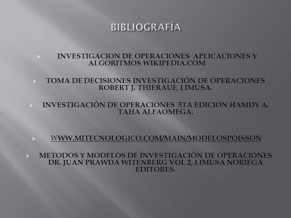 INVESTIGACION DE OPERACIONES APLICACIONES Y ALGORITMOS WIKIPEDIA.COM TOMA DE DECISIONES INVESTIGACIÓN DE OPERACIONES ROBERT J.