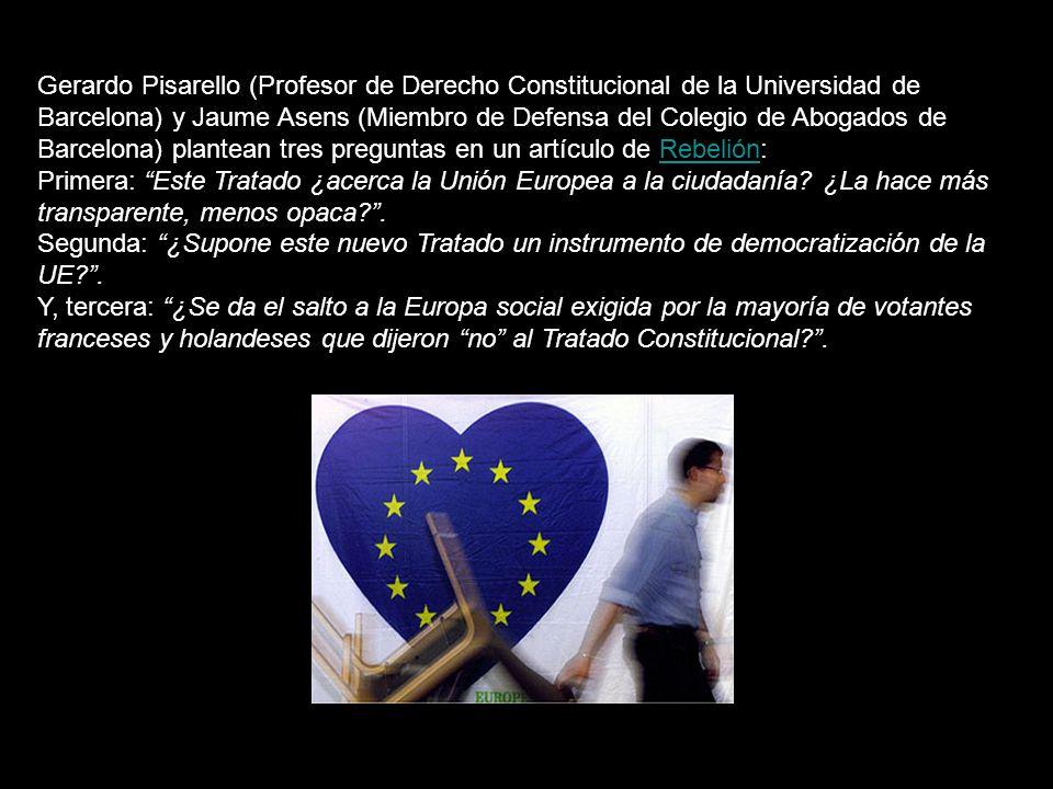 Recordemos que una Constitución es un acto de desconfianza que sirve para proteger al pueblo de los abusos de poder… Una Constitución sirve para debilitar los poderes, controlarlos a todos, especialmente -pero no sólo- separándolos: dividir para debilitar… La constitución que funda la Unión Europea es, pues, profundamente ILEGITIMA, pues resulta de un abuso de poder.