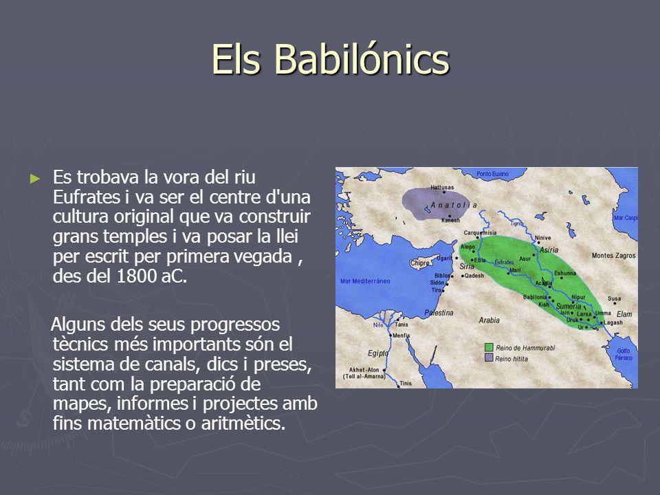 Els Babilónics Es trobava la vora del riu Eufrates i va ser el centre d'una cultura original que va construir grans temples i va posar la llei per esc
