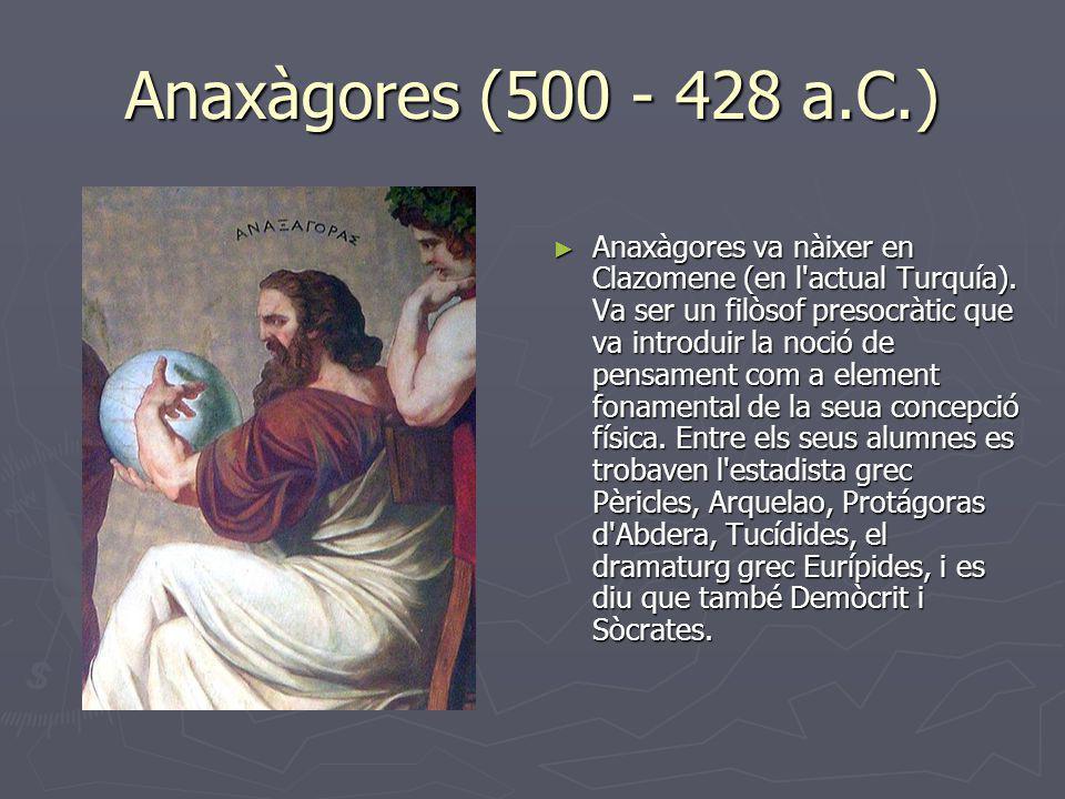 Anaxàgores (500 - 428 a.C.) Anaxàgores va nàixer en Clazomene (en l'actual Turquía). Va ser un filòsof presocràtic que va introduir la noció de pensam