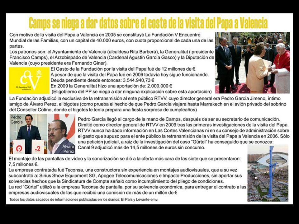 Por el caso Gürtel, según la Fiscalía Anticorrupción, también están imputados altos cargos de la Generalitat Valenciana por posibles delitos de: blanqueo de capitales, falsedad en documento mercantil, cohecho propio y tráfico de influencias.