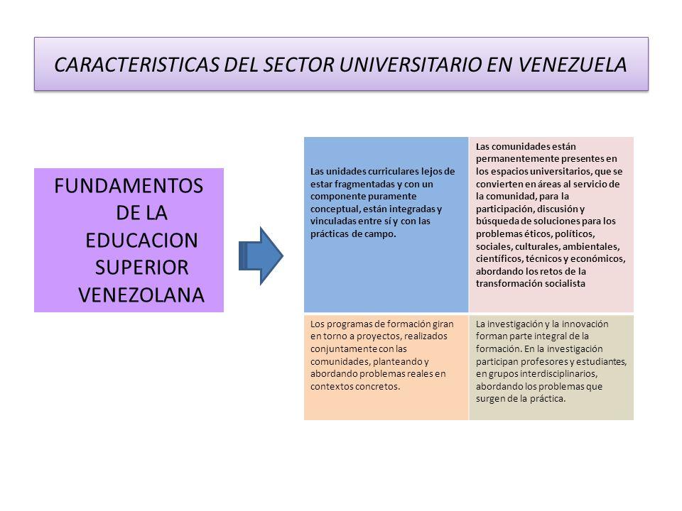 FUNDAMENTOS DE LA EDUCACION SUPERIOR VENEZOLANA Las unidades curriculares lejos de estar fragmentadas y con un componente puramente conceptual, están