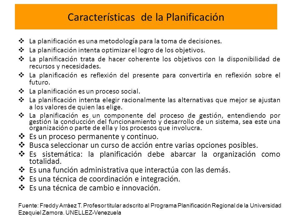 Características de la Planificación La planificación es una metodología para la toma de decisiones. La planificación intenta optimizar el logro de los
