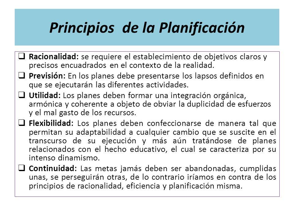 Principios de la Planificación Racionalidad: se requiere el establecimiento de objetivos claros y precisos encuadrados en el contexto de la realidad.
