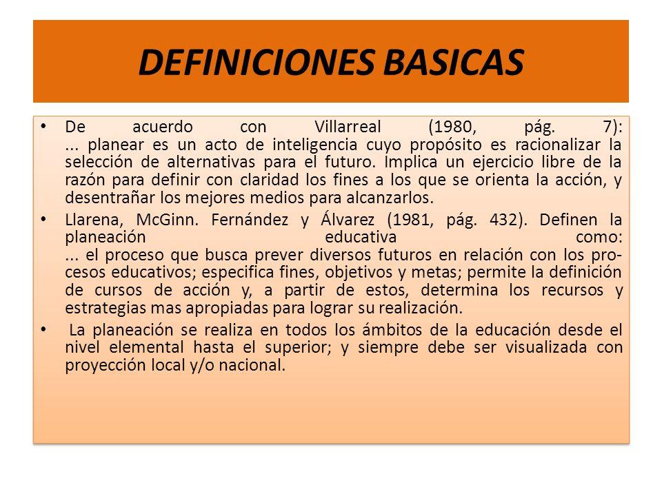 DEFINICIONES BASICAS De acuerdo con Villarreal (1980, pág. 7):... planear es un acto de inteligencia cuyo propósito es racionalizar la selección de al