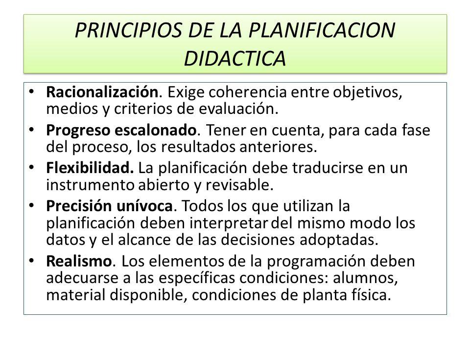 PRINCIPIOS DE LA PLANIFICACION DIDACTICA Racionalización. Exige coherencia entre objetivos, medios y criterios de evaluación. Progreso escalonado. Ten