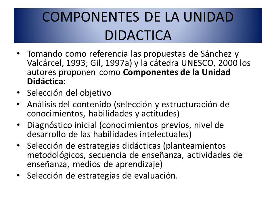 COMPONENTES DE LA UNIDAD DIDACTICA Tomando como referencia las propuestas de Sánchez y Valcárcel, 1993; Gil, 1997a) y la cátedra UNESCO, 2000 los auto