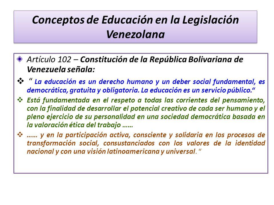 Conceptos de Educación en la Legislación Venezolana Artículo 102 – Constitución de la República Bolivariana de Venezuela señala: La educación es un de