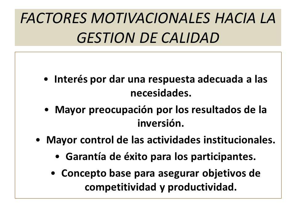 FACTORES MOTIVACIONALES HACIA LA GESTION DE CALIDAD Interés por dar una respuesta adecuada a las necesidades. Mayor preocupación por los resultados de