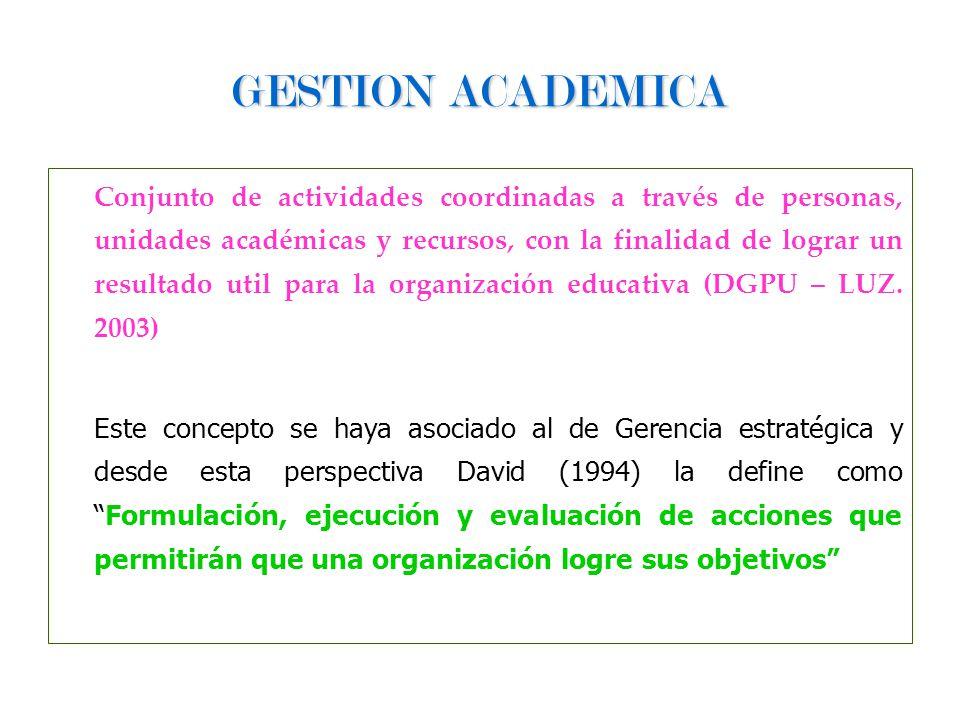 GESTION ACADEMICA Conjunto de actividades coordinadas a través de personas, unidades académicas y recursos, con la finalidad de lograr un resultado ut