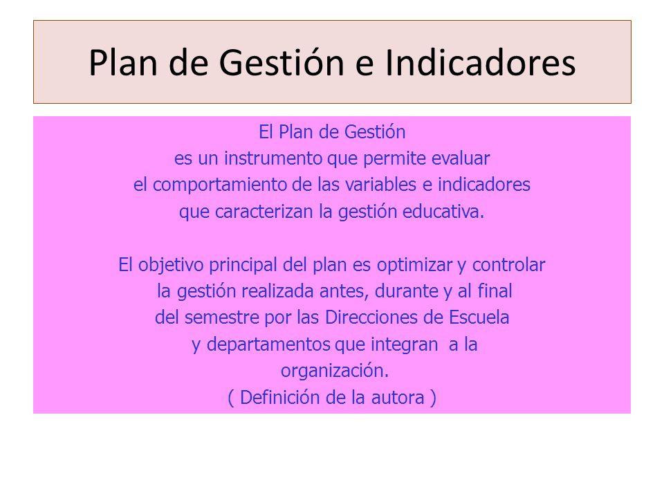 El Plan de Gestión es un instrumento que permite evaluar el comportamiento de las variables e indicadores que caracterizan la gestión educativa. El ob