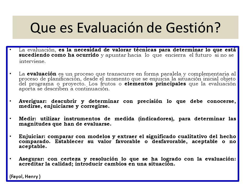 Que es Evaluación de Gestión? La evaluación, es la necesidad de valorar técnicas para determinar lo que está sucediendo como ha ocurrido y apuntar hac
