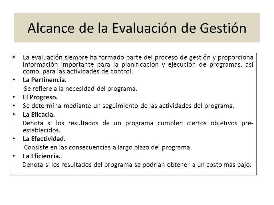 Alcance de la Evaluación de Gestión La evaluación siempre ha formado parte del proceso de gestión y proporciona información importante para la planifi