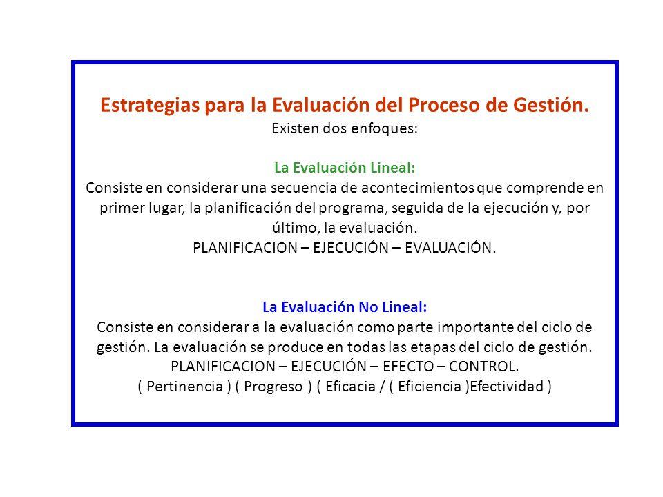 Estrategias para la Evaluación del Proceso de Gestión. Existen dos enfoques: La Evaluación Lineal: Consiste en considerar una secuencia de acontecimie