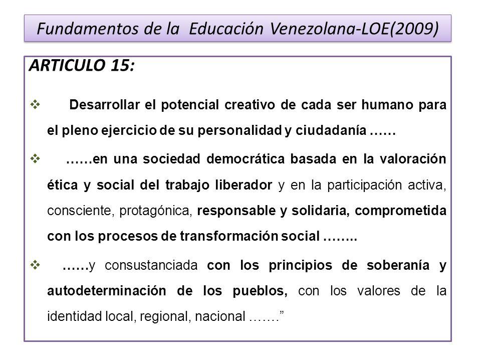 Fundamentos de la Educación Venezolana-LOE(2009) ARTICULO 15: Desarrollar el potencial creativo de cada ser humano para el pleno ejercicio de su perso