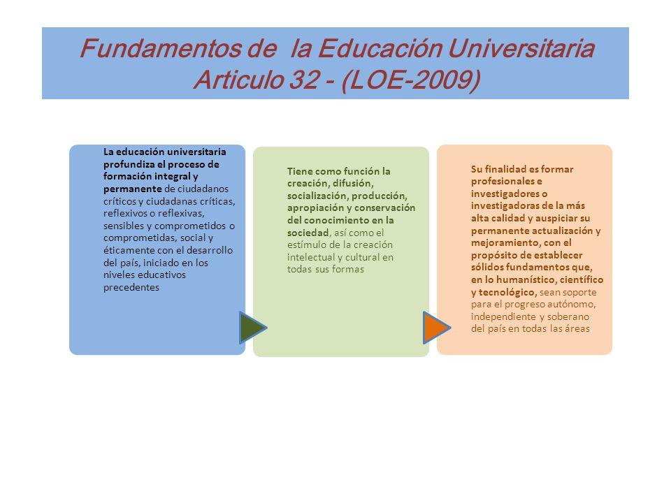 Fundamentos de la Educación Universitaria Articulo 32 - (LOE-2009) La educación universitaria profundiza el proceso de formación integral y permanente