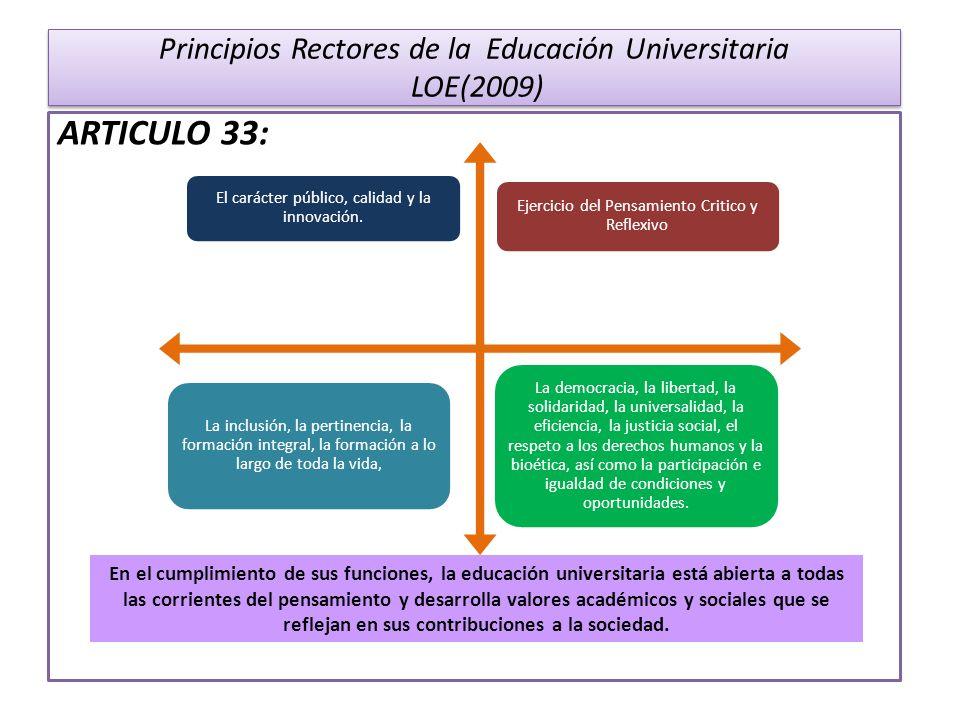 Principios Rectores de la Educación Universitaria LOE(2009) ARTICULO 33: Ejercicio del Pensamiento Critico y Reflexivo El carácter público, calidad y