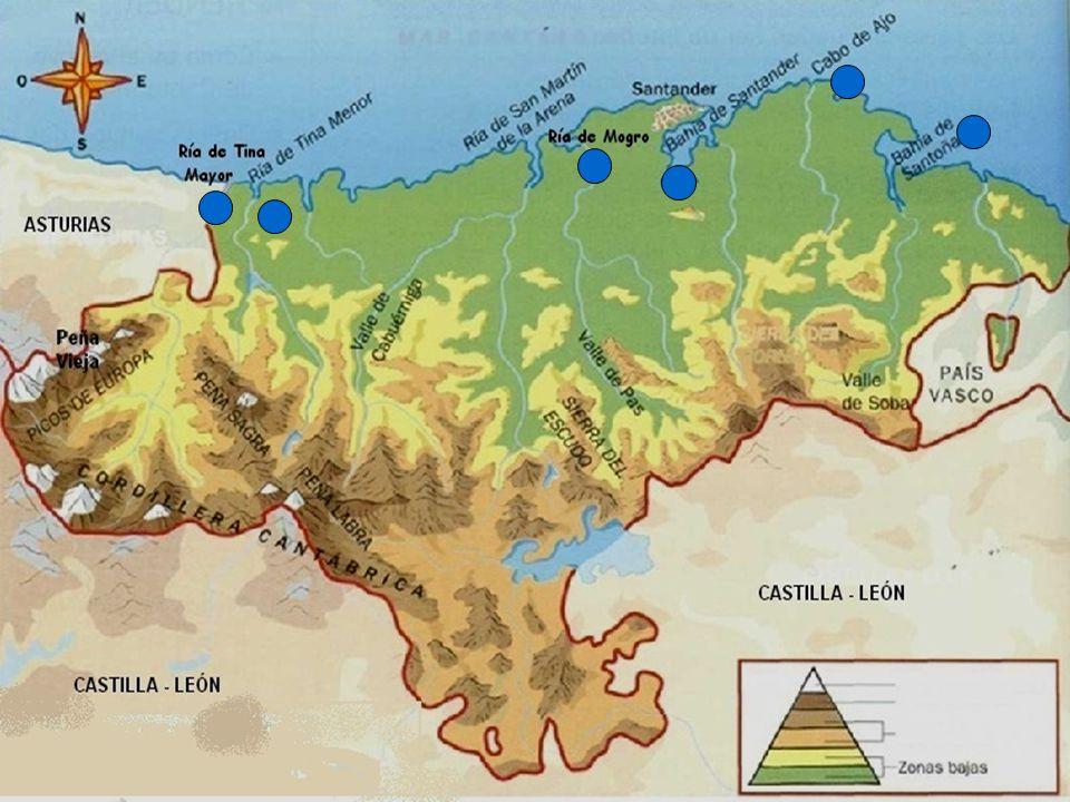 Su relieve De interior: Las montañas se agrupan en sierras que forman parte de la Cordillera Cantábrica. Las montañas más elevadas están en los Picos