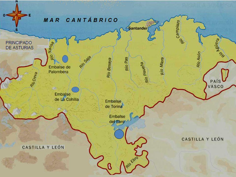Los ríos La mayoría de los ríos nacen en la Cordillera Cantábrica y desembocan en el mar Cantábrico. Son cortos y caudalosos. Deva, Nansa, Saja, Besay