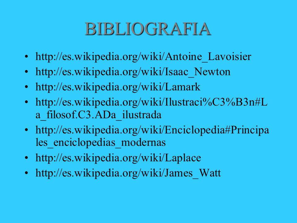 BIBLIOGRAFIA http://es.wikipedia.org/wiki/Antoine_Lavoisier http://es.wikipedia.org/wiki/Isaac_Newton http://es.wikipedia.org/wiki/Lamark http://es.wikipedia.org/wiki/Ilustraci%C3%B3n#L a_filosof.C3.ADa_ilustrada http://es.wikipedia.org/wiki/Enciclopedia#Principa les_enciclopedias_modernas http://es.wikipedia.org/wiki/Laplace http://es.wikipedia.org/wiki/James_Watt