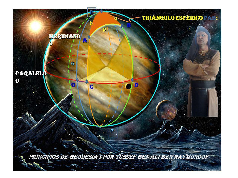 P PP G PRINCIPIOS DE GEODESIA I POR YUSSEF BEN ALI BEN RAYMUNDOF p A B O C D Paralelo 0 Meridiano0 Triángulo esférico PAB: b a