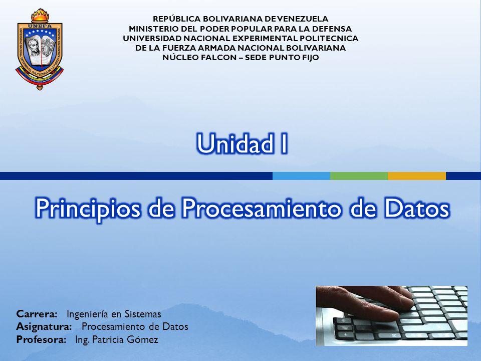 REPÚBLICA BOLIVARIANA DE VENEZUELA MINISTERIO DEL PODER POPULAR PARA LA DEFENSA UNIVERSIDAD NACIONAL EXPERIMENTAL POLITECNICA DE LA FUERZA ARMADA NACI