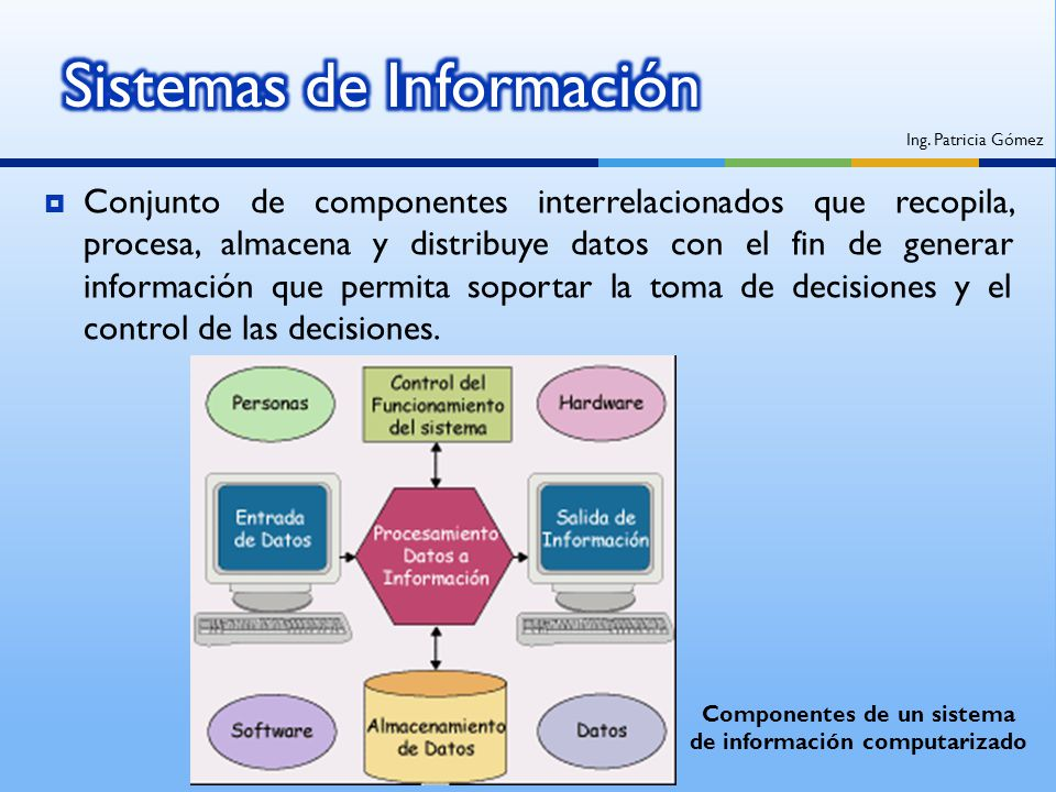 Conjunto de componentes interrelacionados que recopila, procesa, almacena y distribuye datos con el fin de generar información que permita soportar la