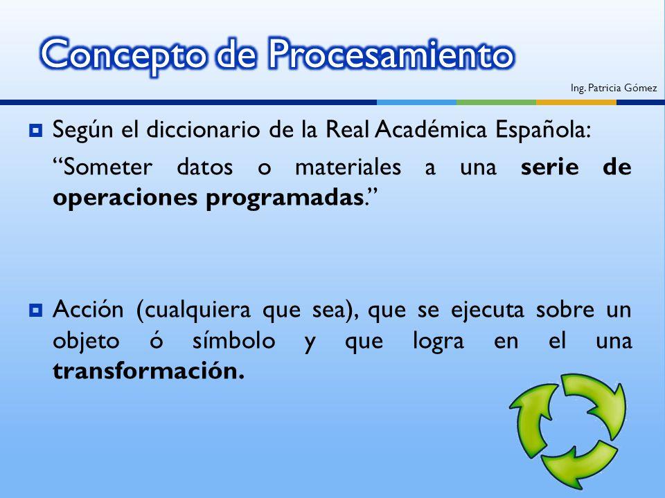 Según el diccionario de la Real Académica Española: Someter datos o materiales a una serie de operaciones programadas. Acción (cualquiera que sea), qu