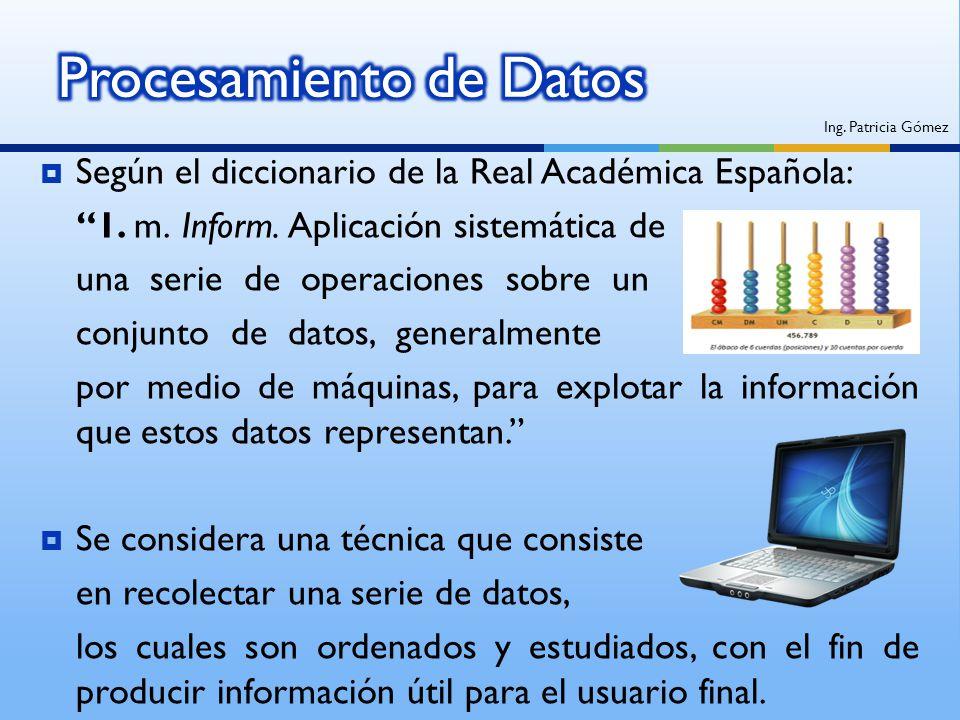 Según el diccionario de la Real Académica Española: 1. m. Inform. Aplicación sistemática de una serie de operaciones sobre un conjunto de datos, gener