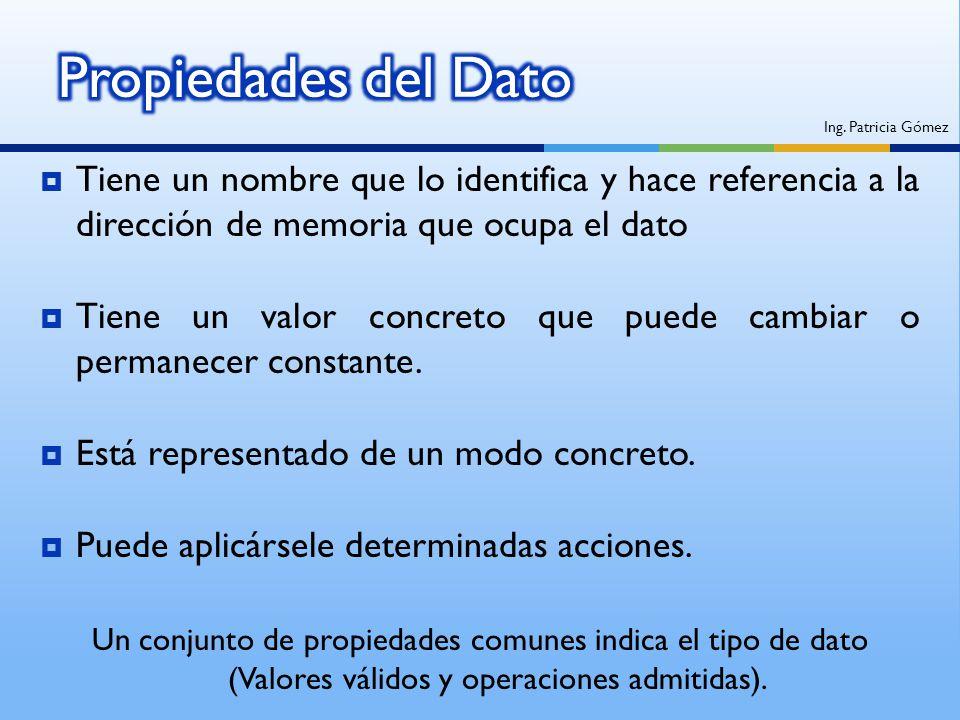 Tiene un nombre que lo identifica y hace referencia a la dirección de memoria que ocupa el dato Tiene un valor concreto que puede cambiar o permanecer