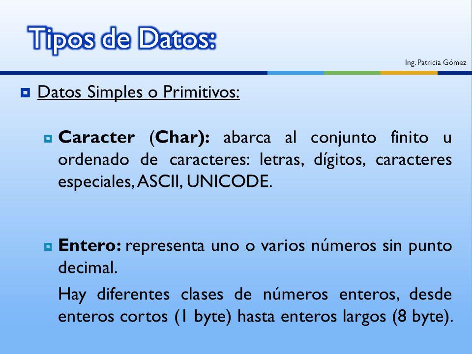 Datos Simples o Primitivos: Caracter (Char): abarca al conjunto finito u ordenado de caracteres: letras, dígitos, caracteres especiales, ASCII, UNICOD