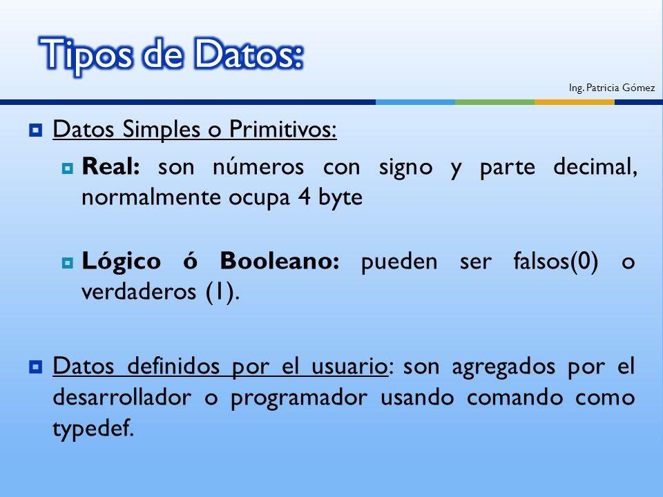 Datos Simples o Primitivos: Real: son números con signo y parte decimal, normalmente ocupa 4 byte Lógico ó Booleano: pueden ser falsos(0) o verdaderos