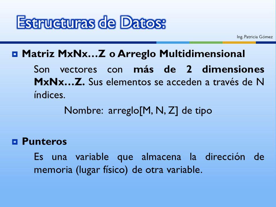 Matriz MxNx…Z o Arreglo Multidimensional Son vectores con más de 2 dimensiones MxNx…Z. Sus elementos se acceden a través de N índices. Nombre: arreglo