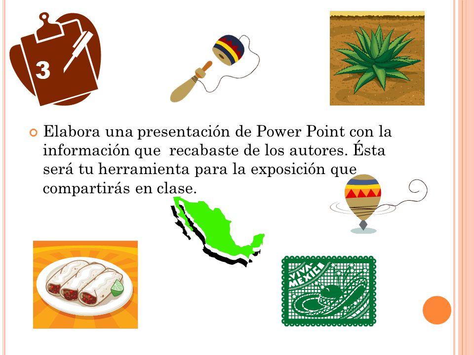 Elabora una presentación de Power Point con la información que recabaste de los autores. Ésta será tu herramienta para la exposición que compartirás e