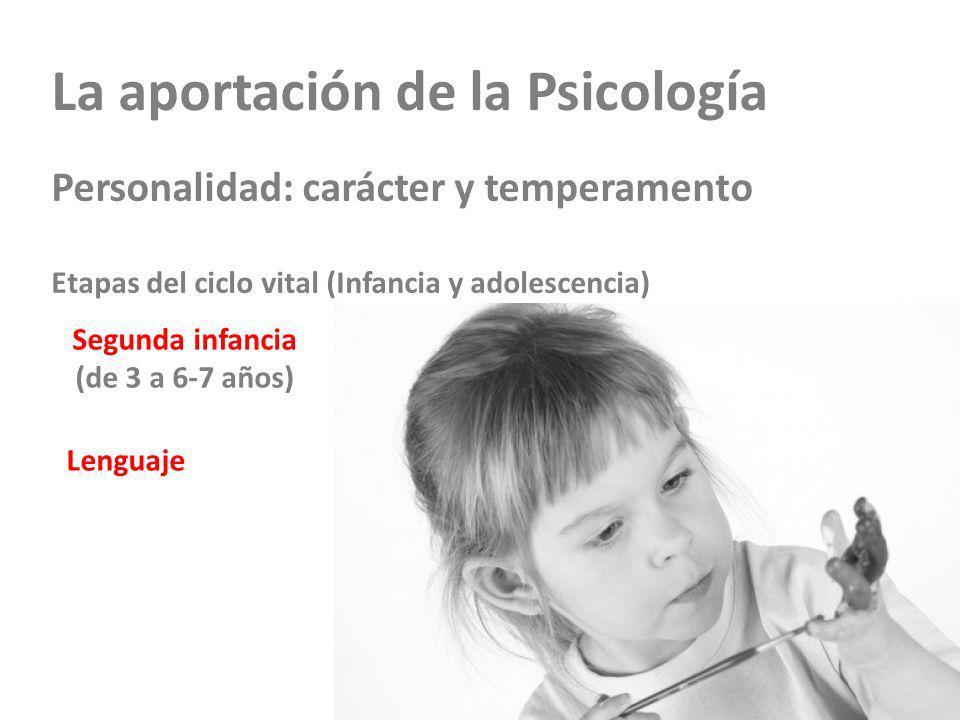 La aportación de la Psicología Personalidad: carácter y temperamento Etapas del ciclo vital (Infancia y adolescencia) Segunda infancia (de 3 a 6-7 años) Lenguaje