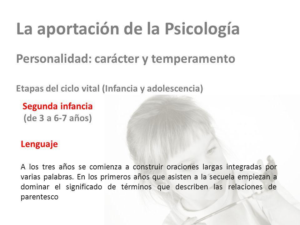 La aportación de la Psicología Personalidad: carácter y temperamento Etapas del ciclo vital (Infancia y adolescencia) Segunda infancia (de 3 a 6-7 año
