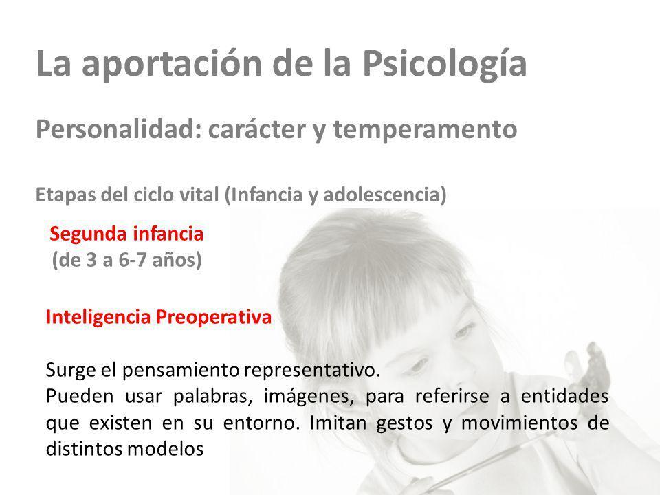 La aportación de la Psicología Personalidad: carácter y temperamento Etapas del ciclo vital (Infancia y adolescencia) Segunda infancia (de 3 a 6-7 años) Inteligencia Preoperativa Surge el pensamiento representativo.