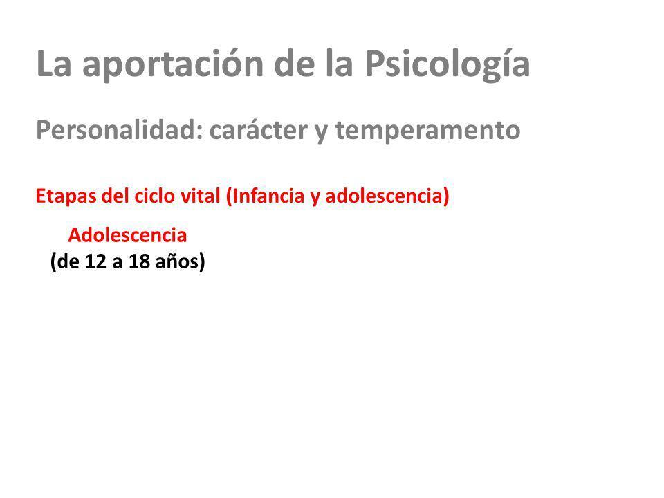 La aportación de la Psicología Personalidad: carácter y temperamento Etapas del ciclo vital (Infancia y adolescencia) Adolescencia (de 12 a 18 años)