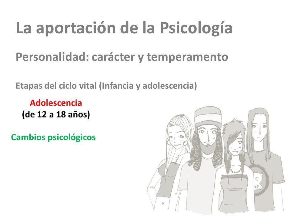La aportación de la Psicología Personalidad: carácter y temperamento Etapas del ciclo vital (Infancia y adolescencia) Adolescencia (de 12 a 18 años) C